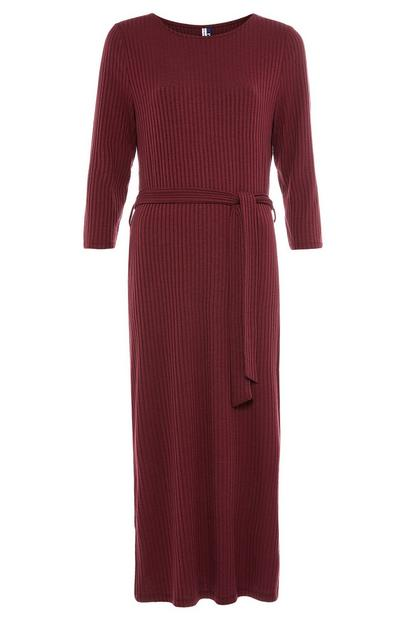 Burgundy Jersey Belted Midi Dress