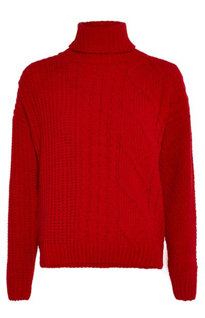 Red Chenille Cable Roll Neck Jumper