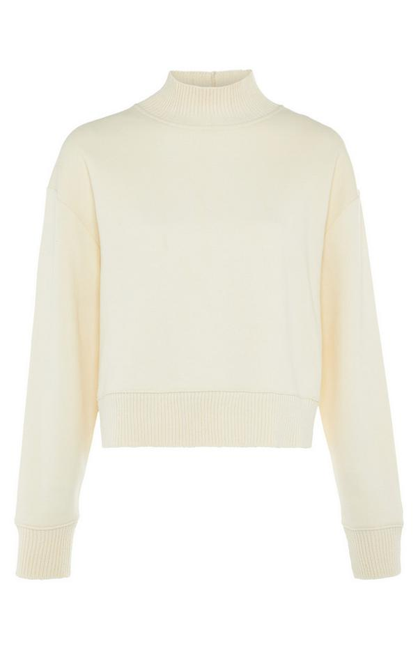 Cream Knitted Roll Neck Sweater