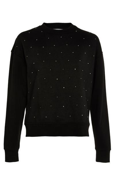 Schwarzes Sweatshirt mit Ziersteinen