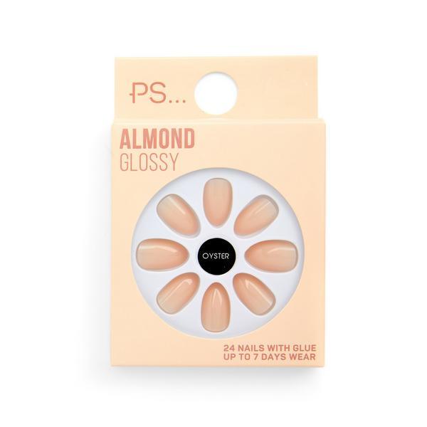 Uñas postizas brillantes de color nude claro con punta redondeada de PS