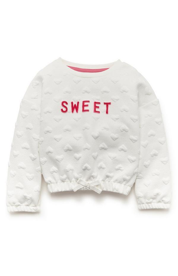 """Weißer """"Sweet"""" Pullover mit Steppmuster (kleine Mädchen)"""