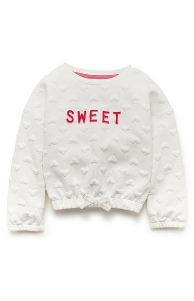 Sweat-shirt blanc matelassé Sweet fille