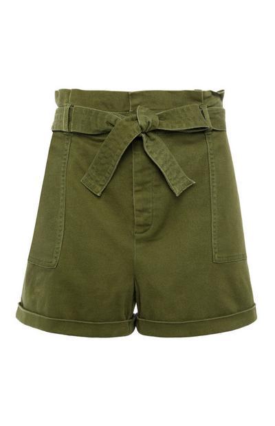 Green Casual City Shorts