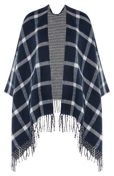 Navy And White Check Printed Cape