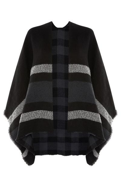 Grey Linear Printed Cape
