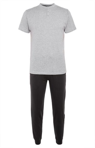 Grey And Black Henley Pyjamas Set