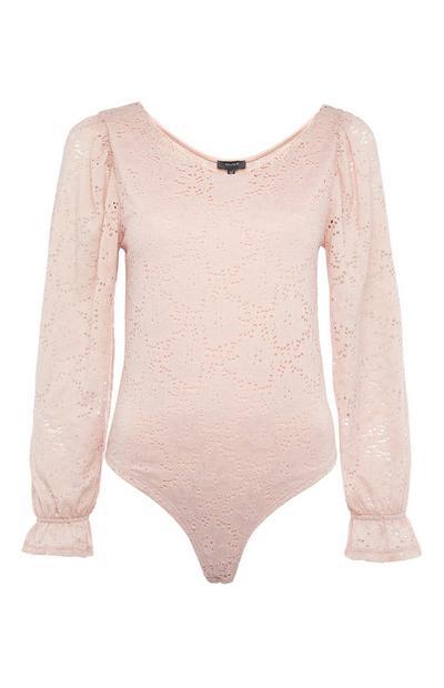 Pink Volume Sleeve Lace Bodysuit