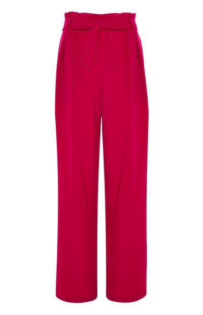 Roze broek van twill-katoen met wijde pijpen