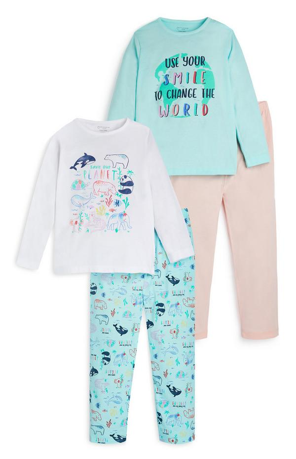 Pyjama mit Delfinmotiv, 2er-Pack (kleine Mädchen)
