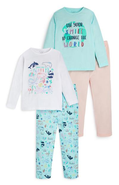 Younger Girl Dolphin Print Pyjamas 2 Pack