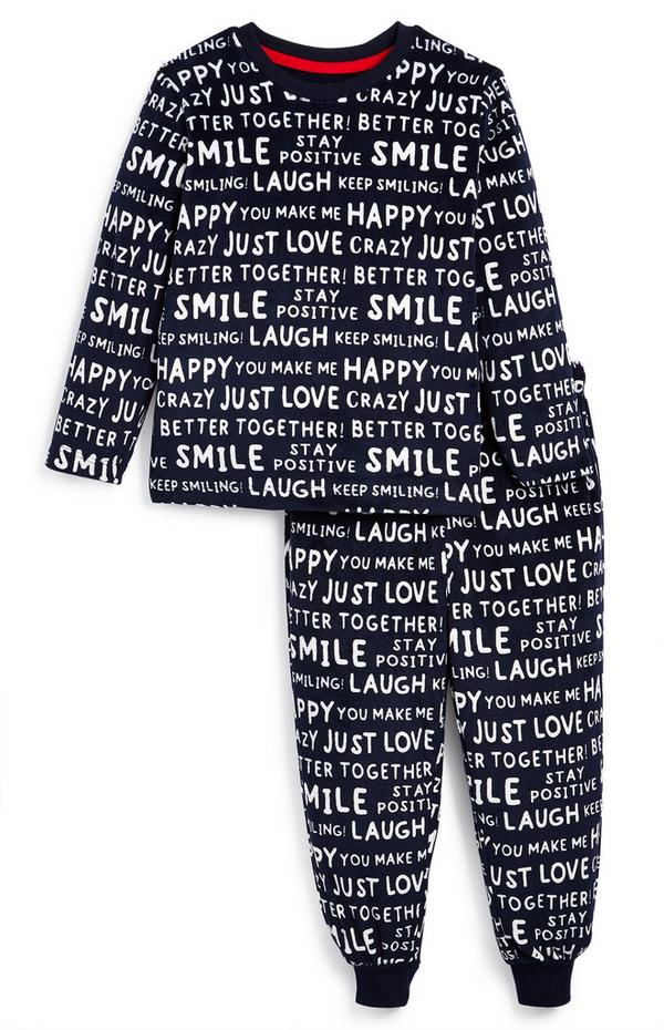 Pijama familiar con mensaje positivo en blanco y negro