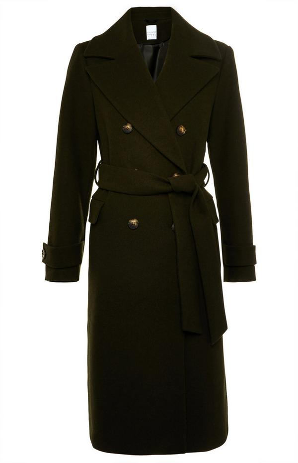 Premium zwarte wollen jas met riem