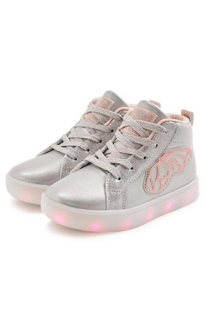 Younger Girl Silver Butterfly Light Up High Top Trainers