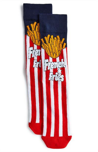 Red And Navy French Fries Socks