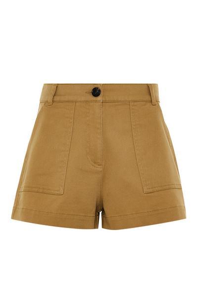 Beige High Waist Utility Shorts