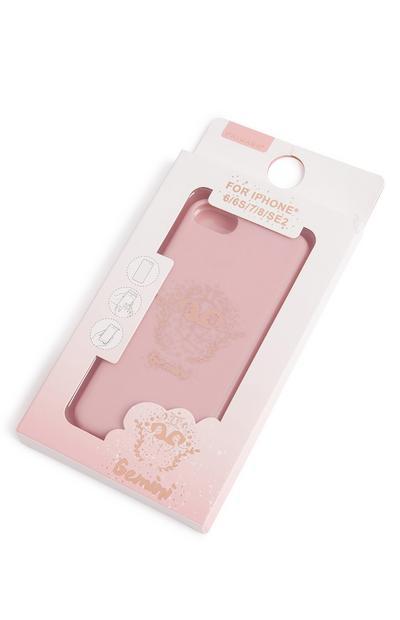 """Carcasa para el móvil de color rosa con estampado """"Gemini"""""""