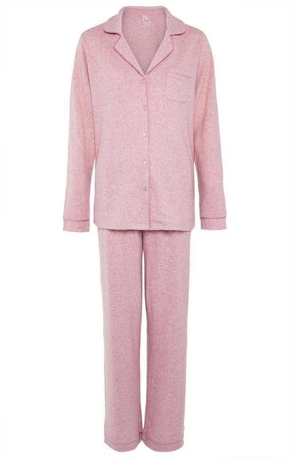 Superweicher rosa Pyjama mit Knöpfen