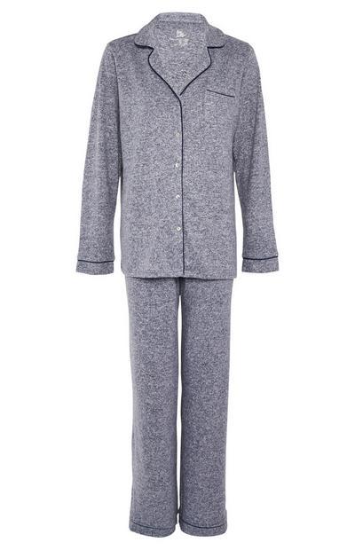 Navy Supersoft Button Up Pyjama Set