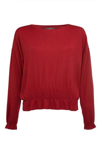 Red Long Sleeve Crinkle Frill Hem Top