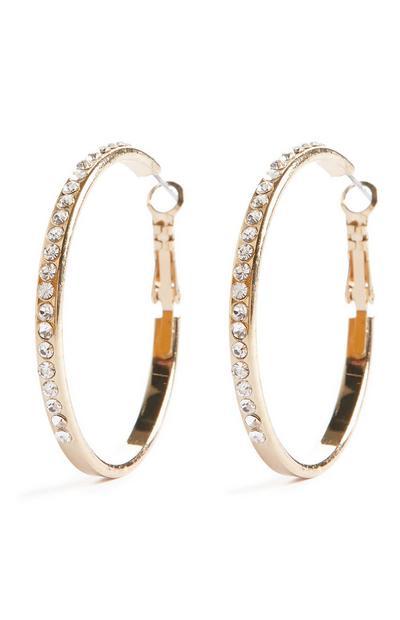Goldtone Rhinestone Hoop Earrings
