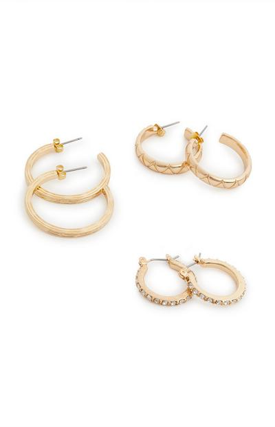 3-Pack Gold Rhinestone Mixed Hoop Earrings