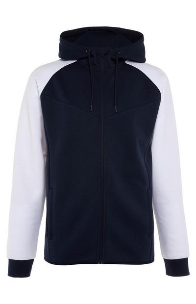 Navy Sports Colour Block Overhead Hoodie