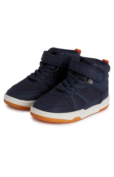 Younger Boy Navy High Top Trainers