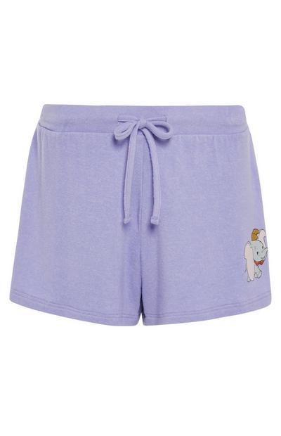 Pantalón corto de pijama de Dumbo de color lila de tejido supersuave