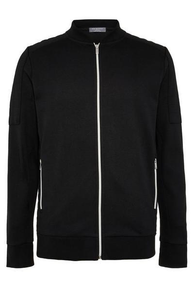 Black Pique Bomber Jacket