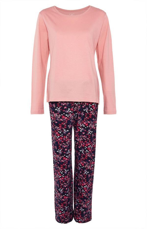 Pijama manga comprida cor-de-rosa