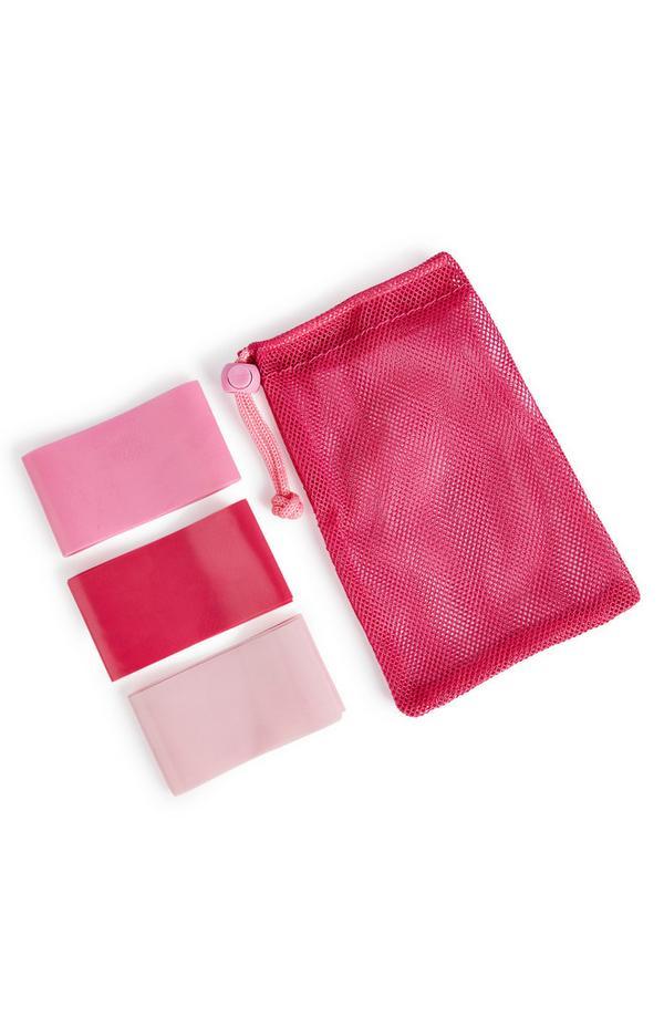 Conjunto bandas resistência Workout cor-de-rosa