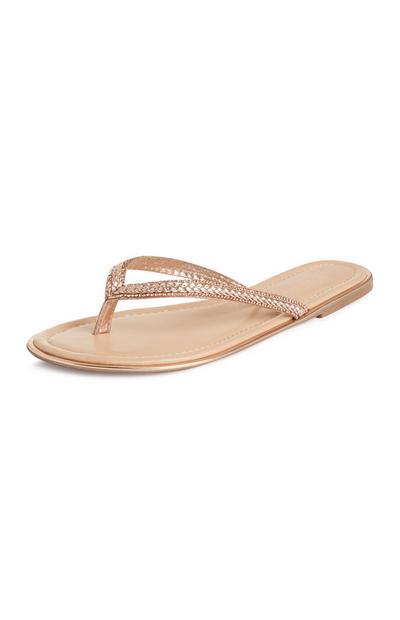 Beigefarbene Sandalen mit Glitzer