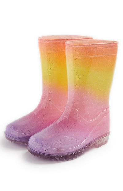 Bottes de pluie rose avec dégradé de couleurs fille