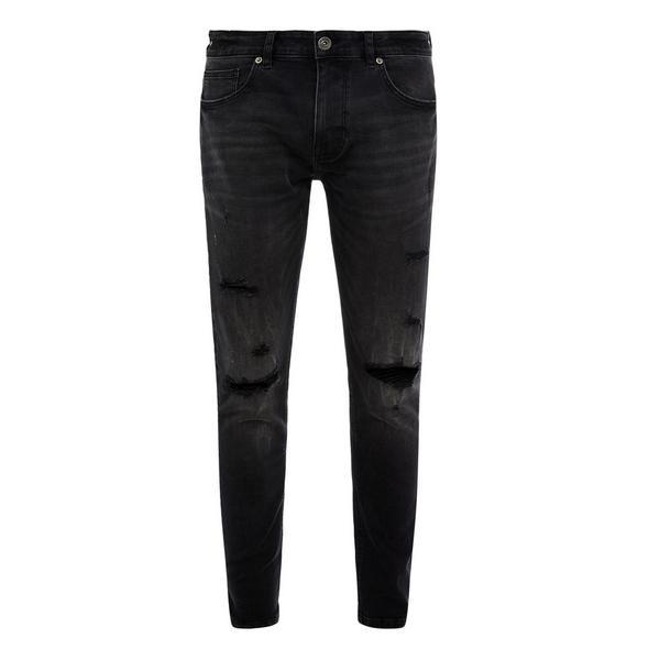 Calças ganga super skinny desbotadas rasgões preto