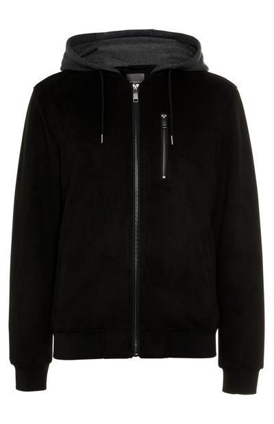 Black Jersey Hood Suede Bomber Jacket