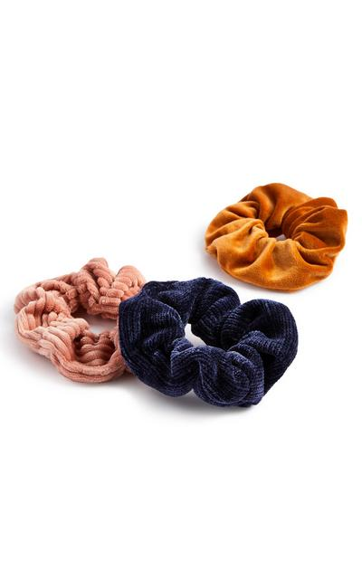 Mixed Texture Velvet Scrunchies 3 Pack
