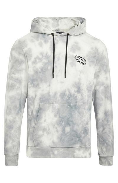 Hoodie met wit-grijze tie-dye en logo