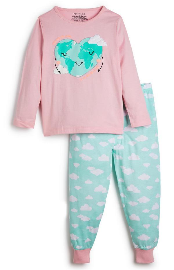 Pyjama mit Erde-Herz-Motiv (kleine Mädchen)