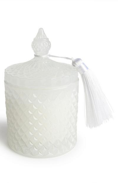 White Glass Lidded Tassel Candle