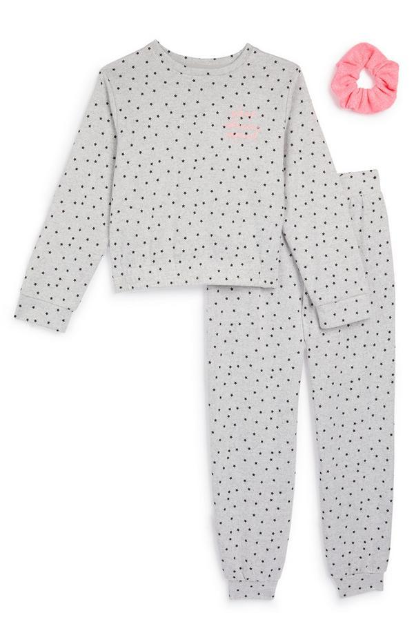 Younger Girl Grey Soft Star Pyjama And Scrunchie Set