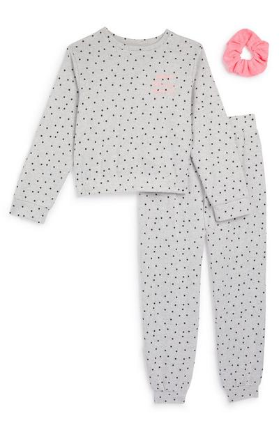 Younger Girl Grey Soft Star Pyjama And Scrunchie Set