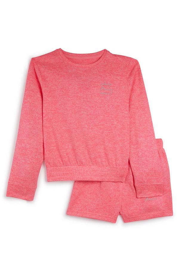 Pinkfarbener Pyjama mit Shorts (Teeny Girls)