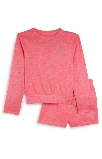 Felroze pyjama met short voor meisjes