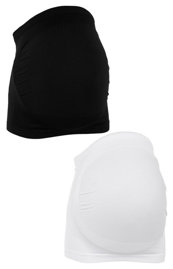 Maternity Black and White Belly Bands 2 Pack