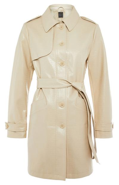 Cream Button-Up PU Faux Croc Mac Coat