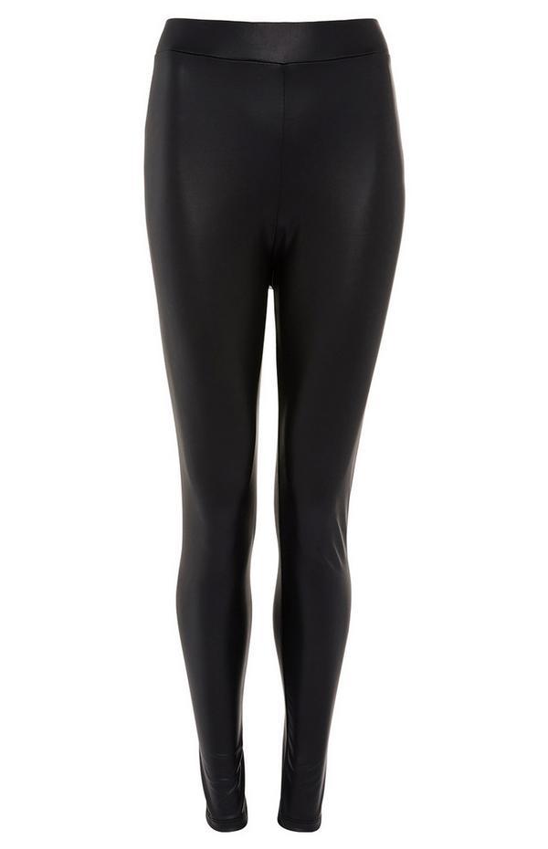 Black Faux PU Leather Leggings