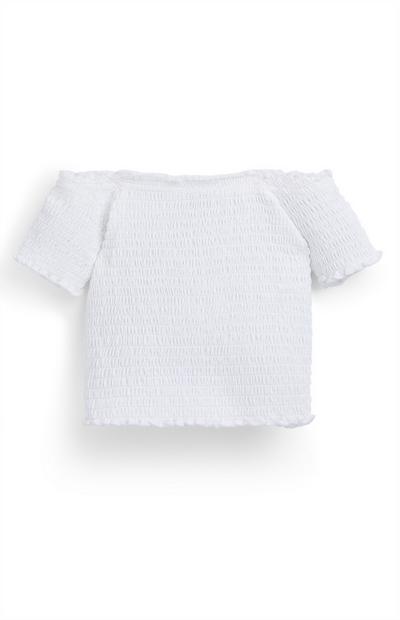 Top bardot tecido franzido menina branco