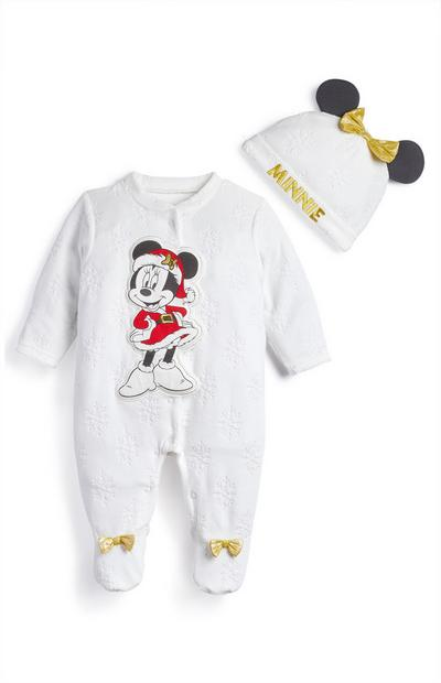 Baby White Christmas Minnie Mouse Velour Sleepsuit And Hat