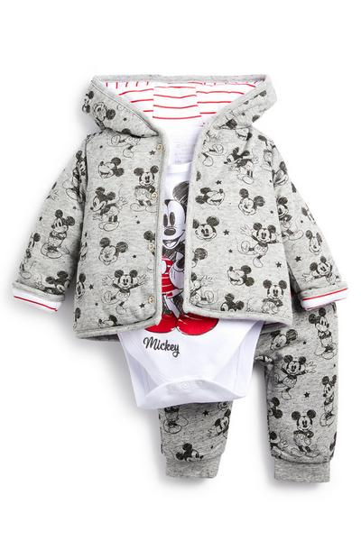 Baby Boy Grey Mickey Mouse Hooded Tracksuit 3 Piece Set